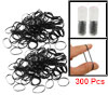 2 Pack Black Rubber Elastic Hair Band Ponytail Holders