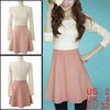 Ladies Scoop Neck Lace Long Sleeve Pleated Hem Pink Cable Dress XS