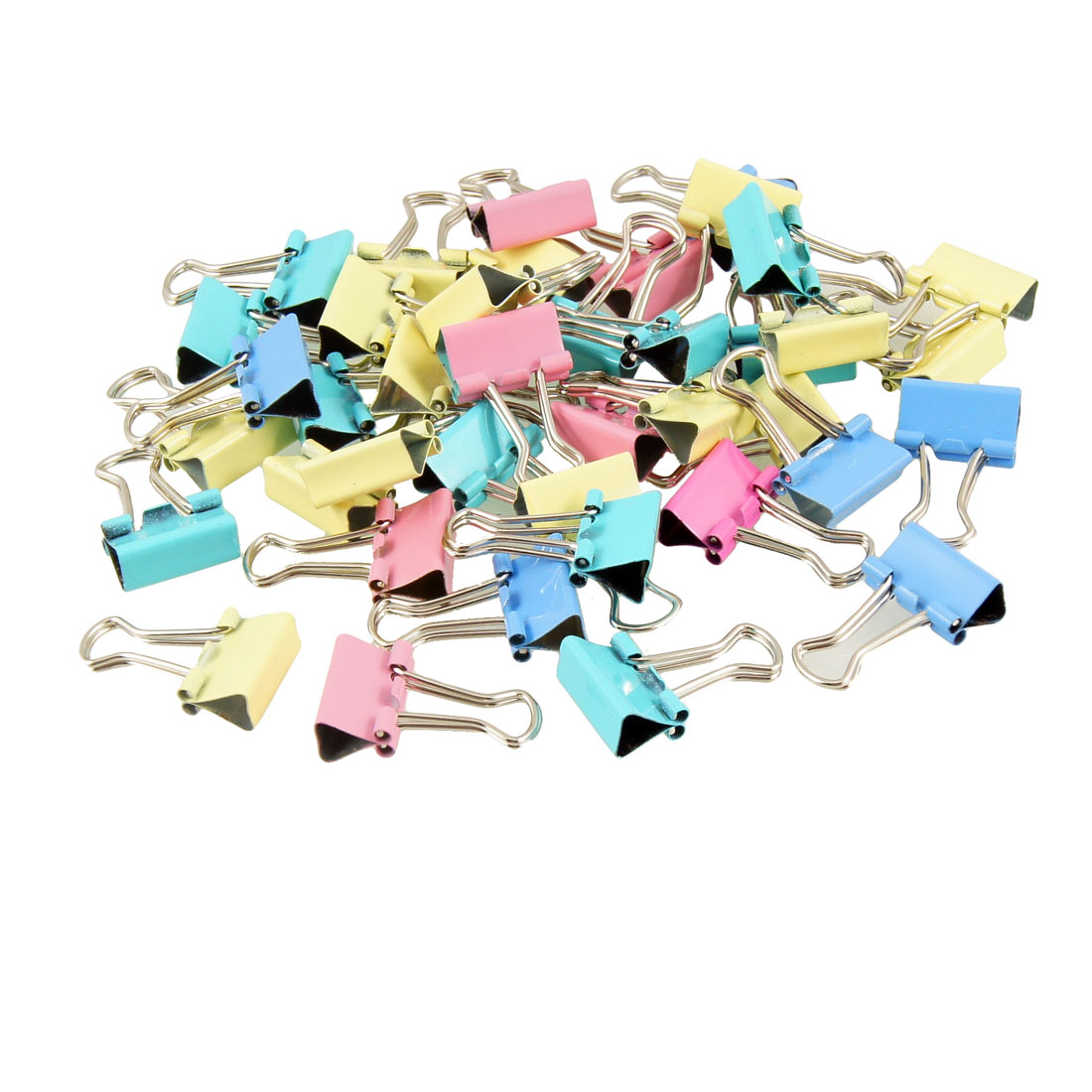 40 Pcs Office Assorted Color 15mm Width Metal Binder Clips