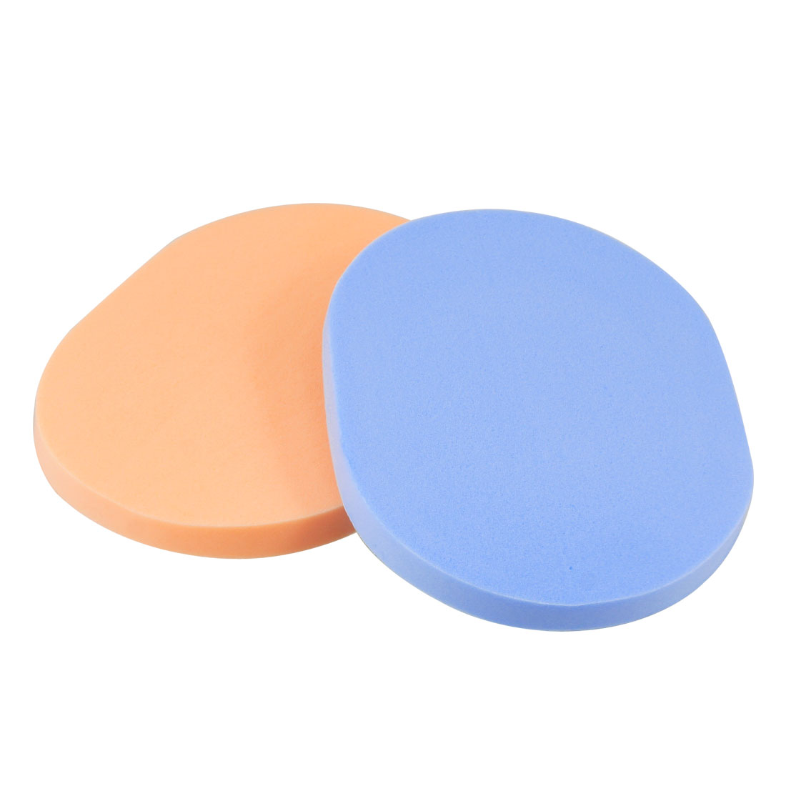Blue Orange Oval Shaped Sponge Makeup Cosmetic Face Pad 2 pcs