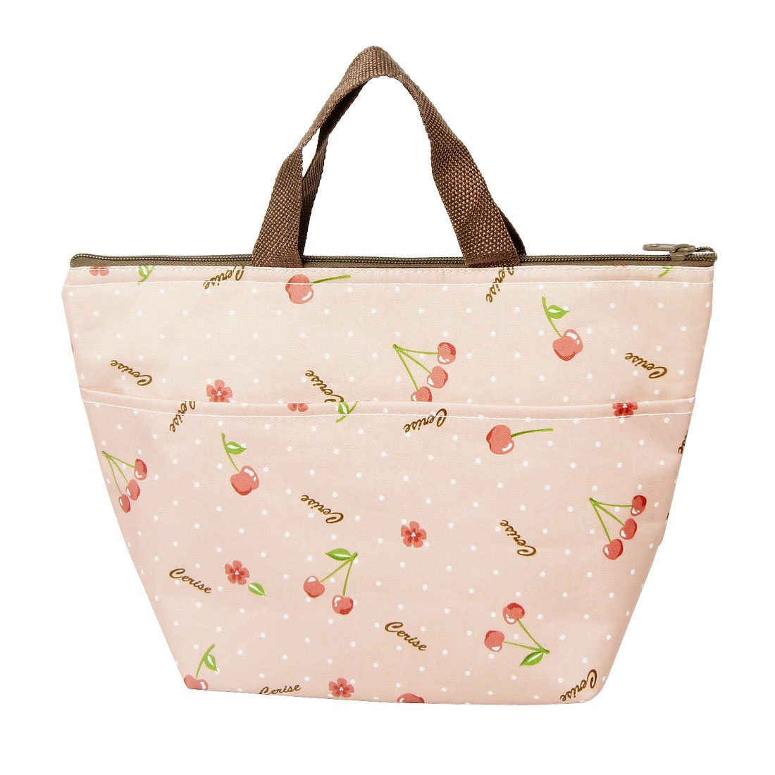 Pale Pink Print Two Pockets Lunchbox Cooler Bag for Adult