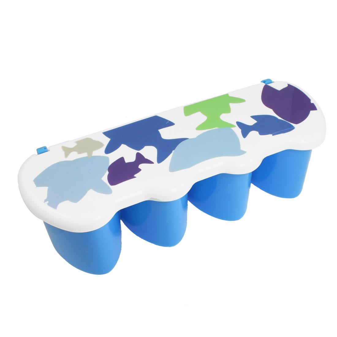 Plastic Heart Shape 4 Slot Spice Flavor Condiment Container Box Blue w Spoon