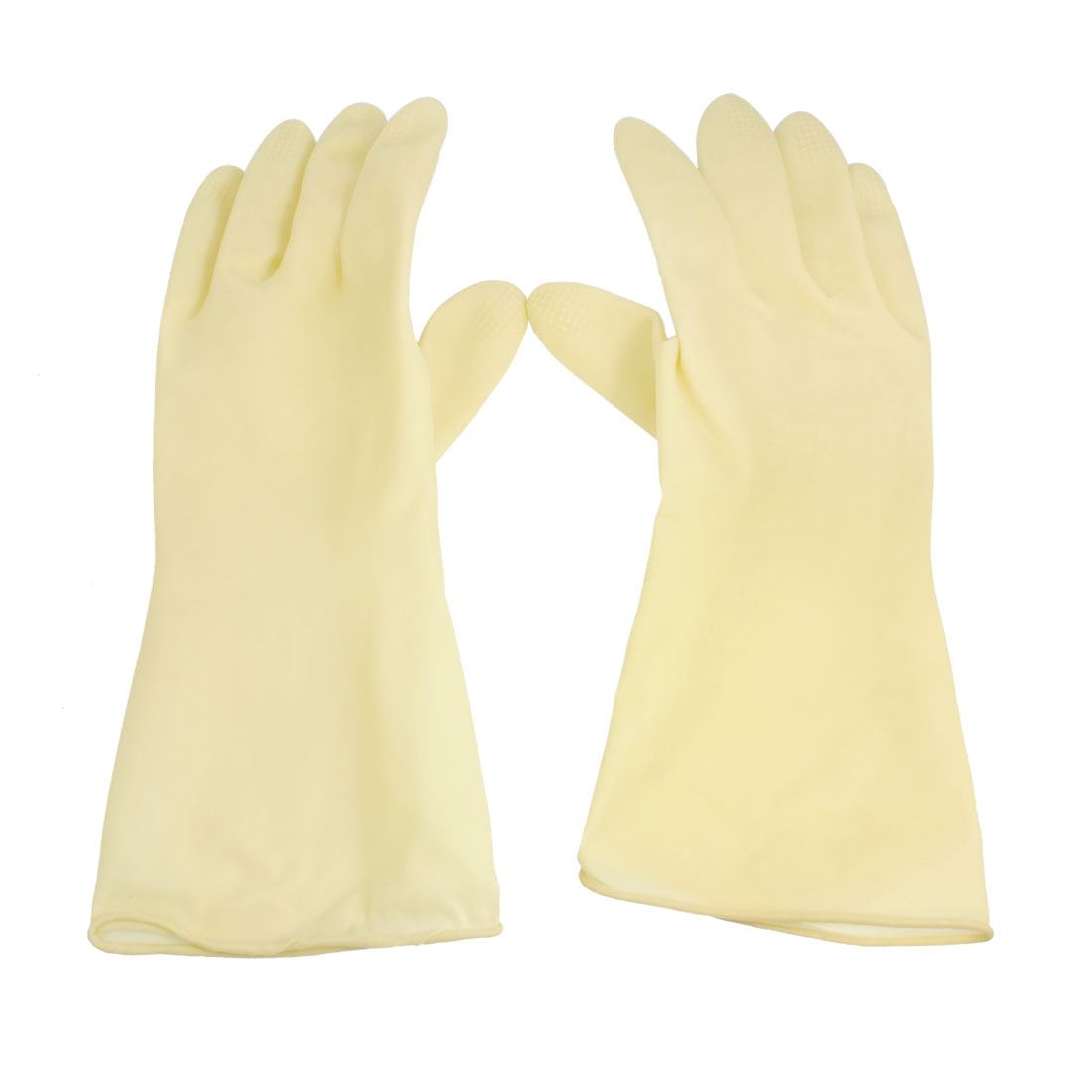 "Kitchen Nonslip Palm Finger Latex Rubber Cleaning Long Gloves 12.2"" Pair M"