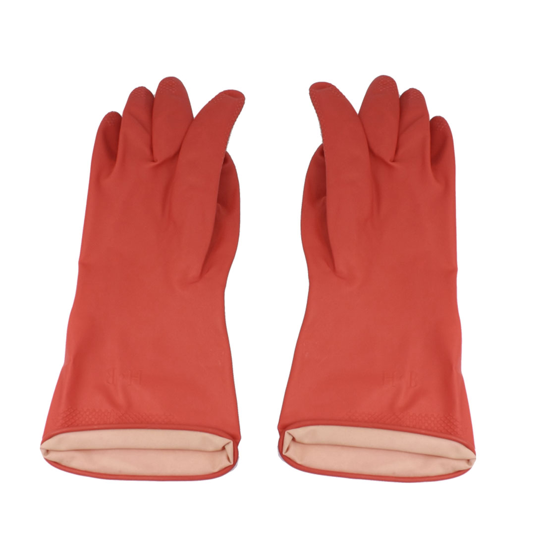 Pair Household Assistant Antislip Reusable Clean Wash Latex Rubber Gloves Red M