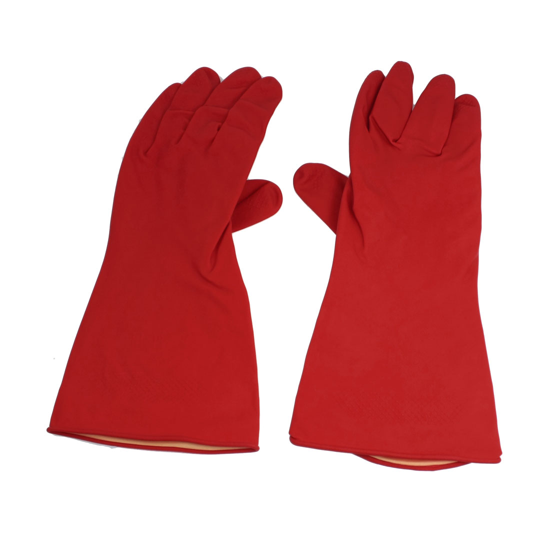 "Household Latex Rubber Pair Assistant Nonslip Clean Wash Gloves Red 11.8"" L"
