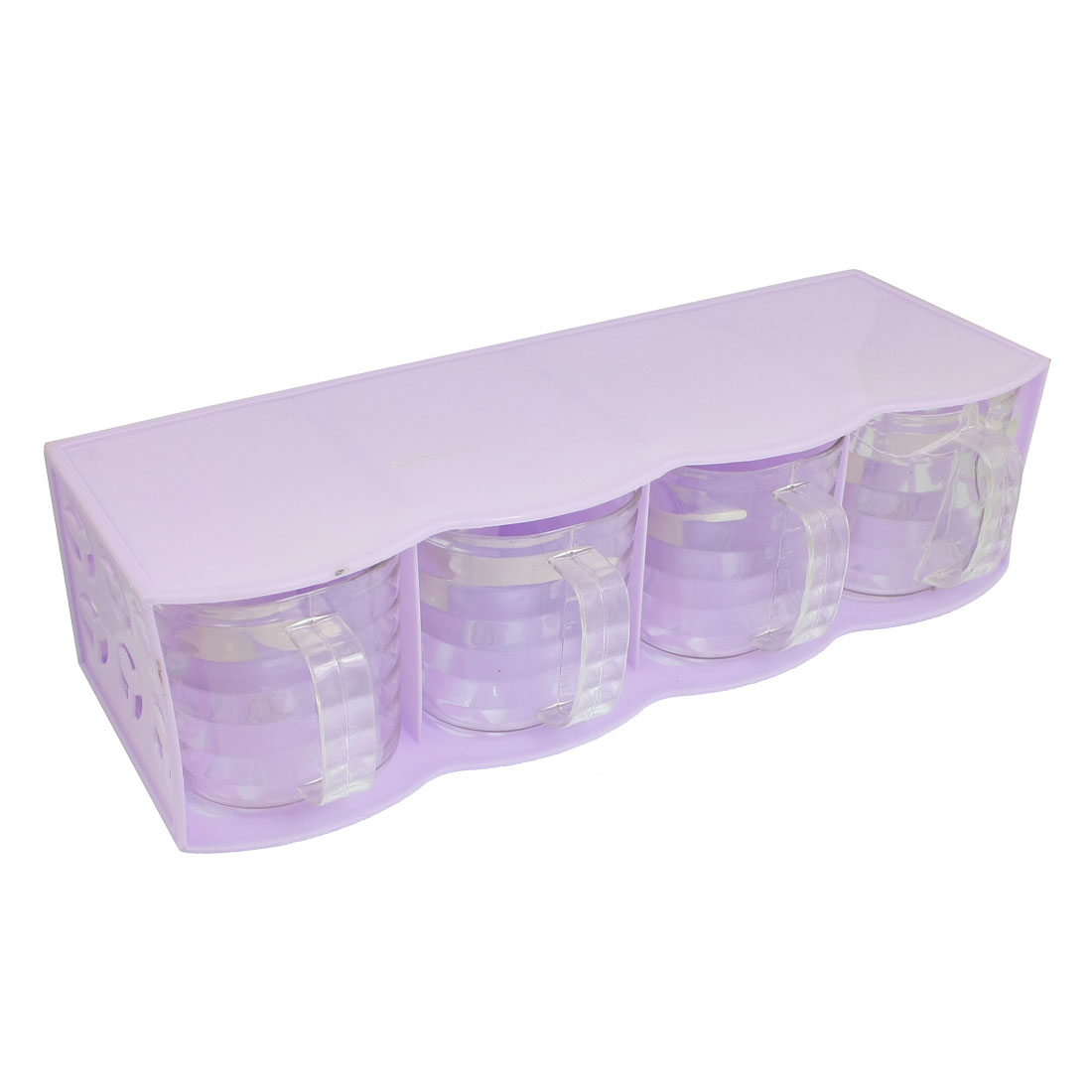 Bean Sprout Hole Spices Condiment Dispenser Container Box Lavender 4 in 1
