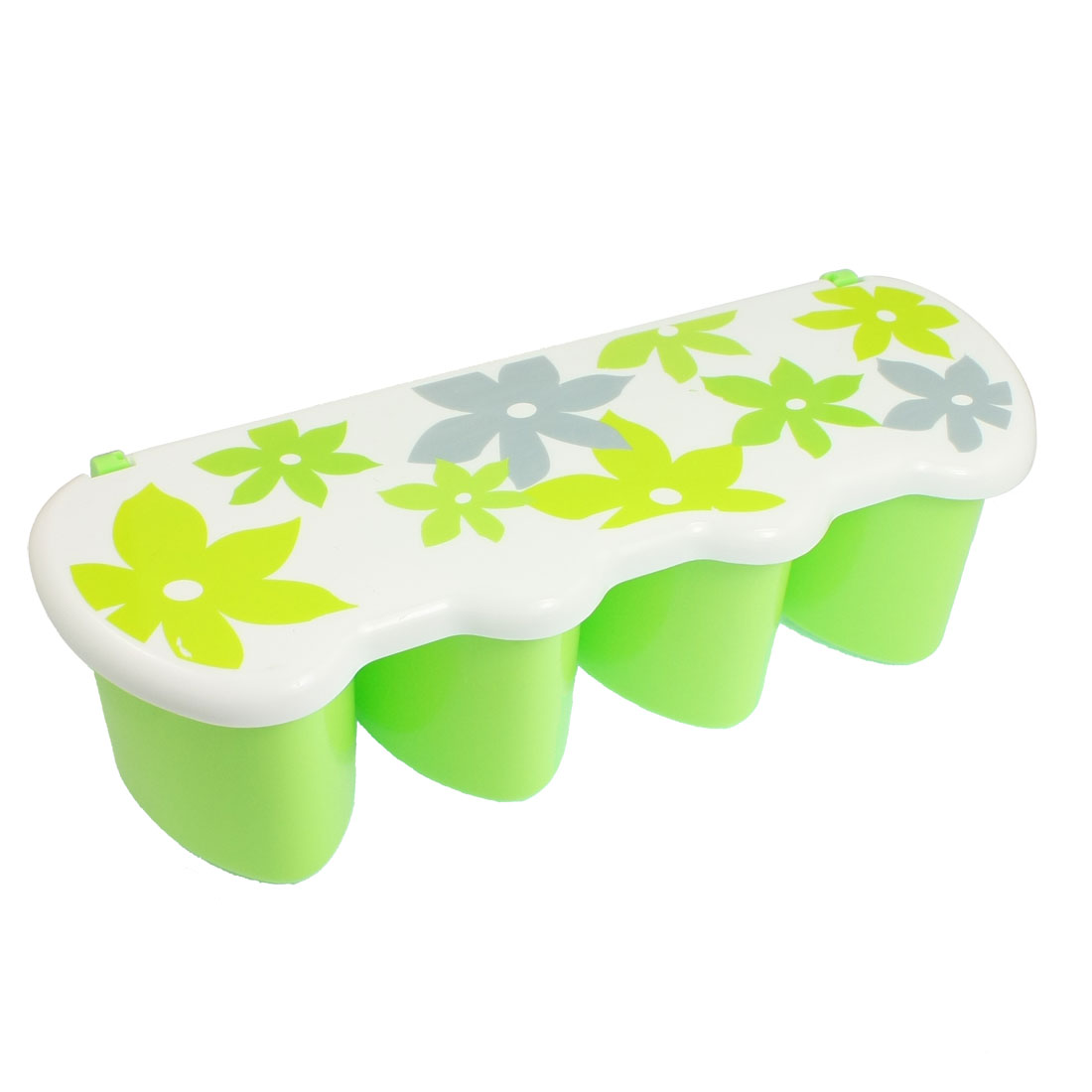 Multicolor Flower Print Plastic 4 Slot Spices Seasoning Condiment Container