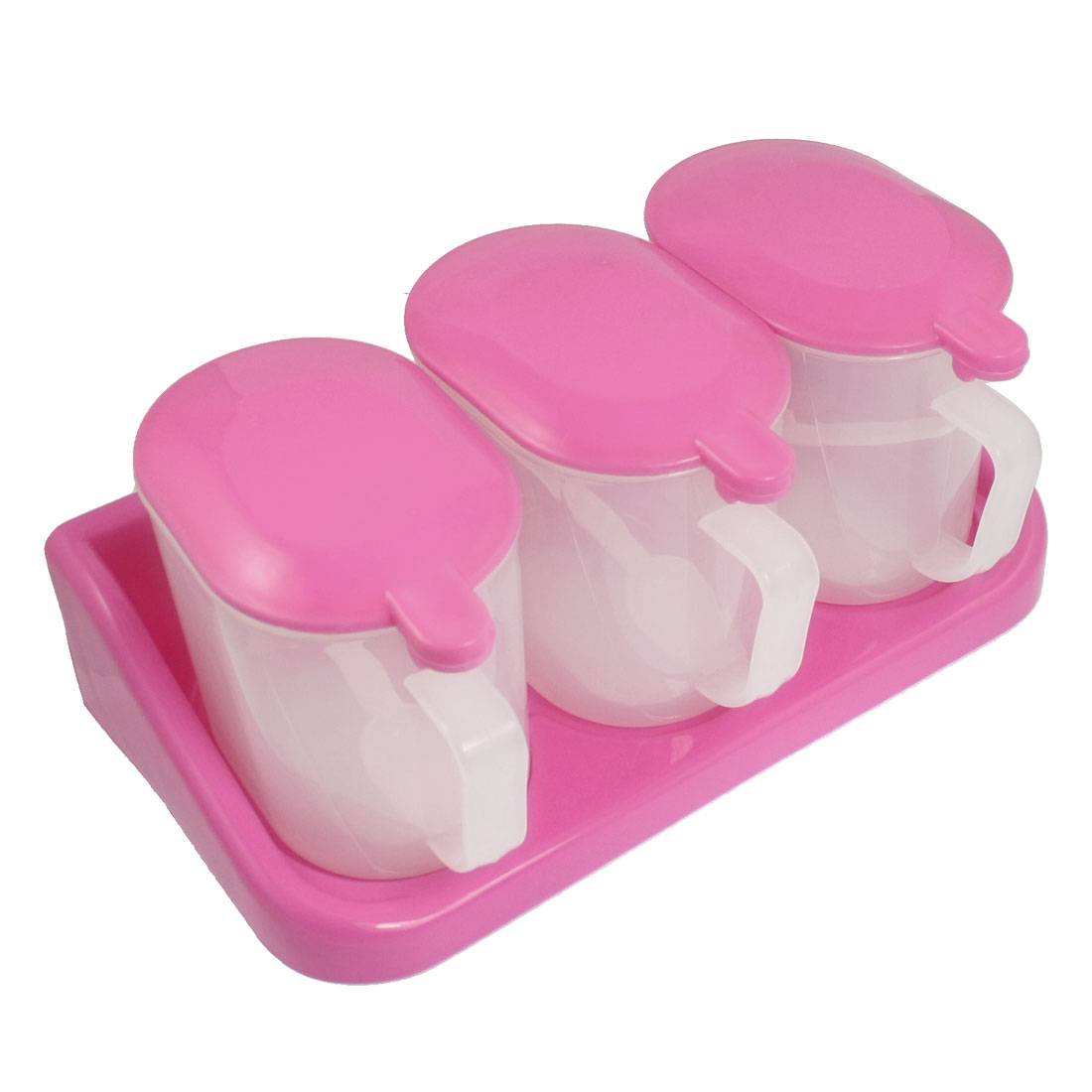 Kitchen Plastic 3 Case Spices Sugar Box Container Holder Fuchsia w Spoons