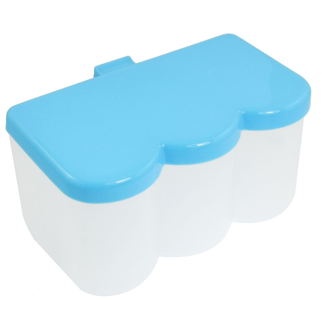 Kitchen Plastic 3 Compartment Spices Sugar Box Container Skyblue w 2 Spoons