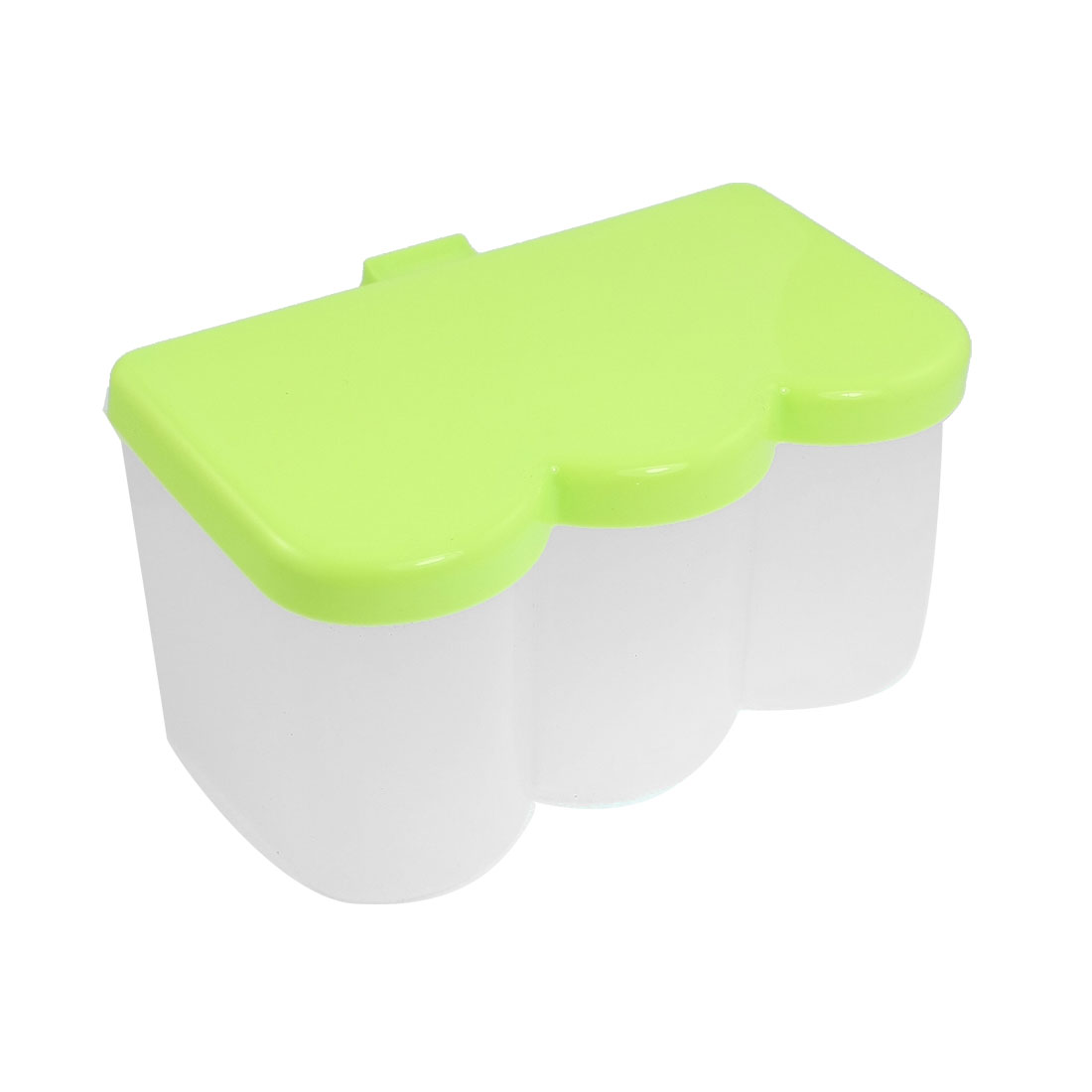 Plastic 3 Slots Seasoning Box Spices Condiment Sugar Container Green