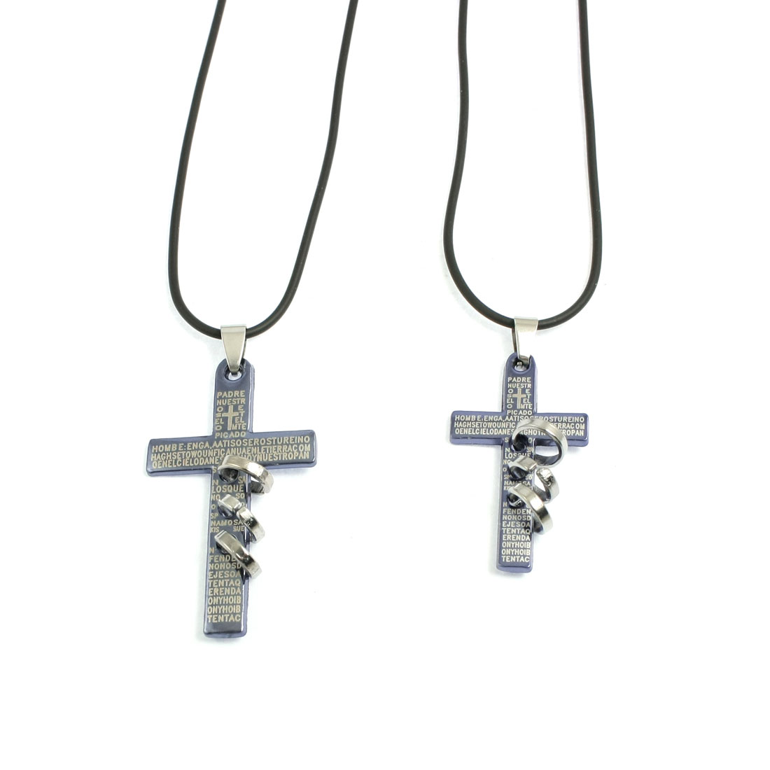 Lover Metal Cross Pendant Adjustable String Necklace Gift Black Blue Pair