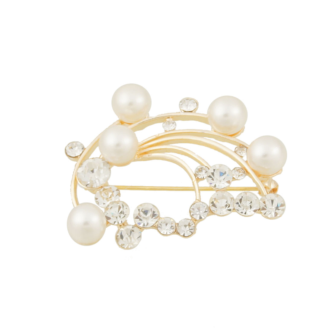 White Faux Pearl Detail Branches Shape Pin Closure Brooch for Lady