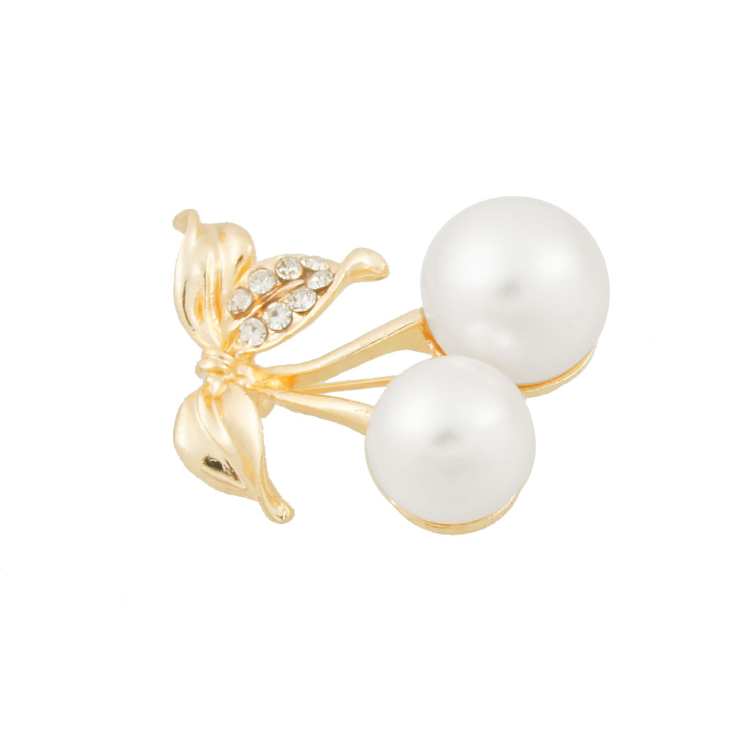 White Imitation Pearl Cherry Shaped Metal Pin Closure Brooch for Lady