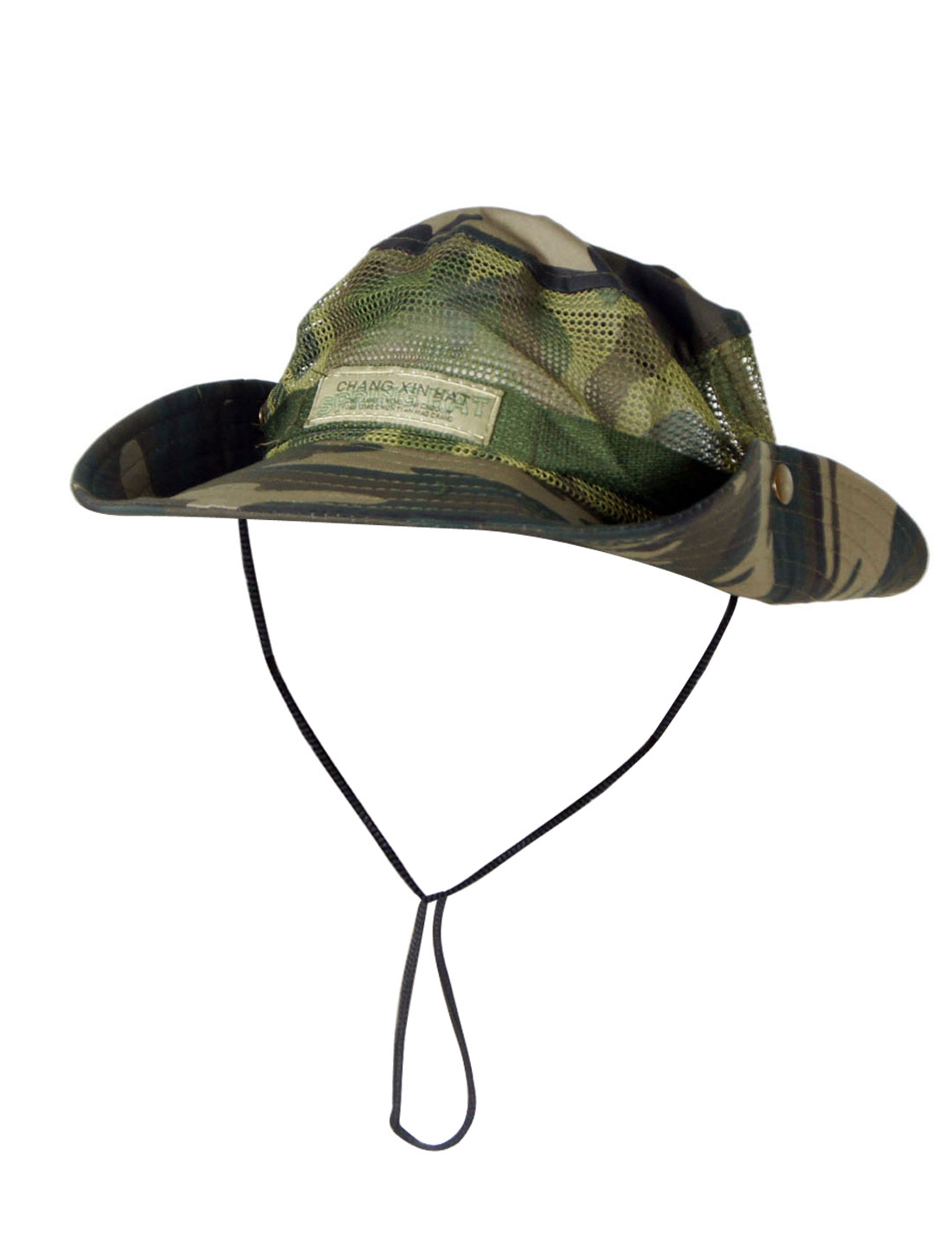 Men Black Khaki Camouflage Pattern Round Brim Military Mesh Bucket Sun Hat Cap