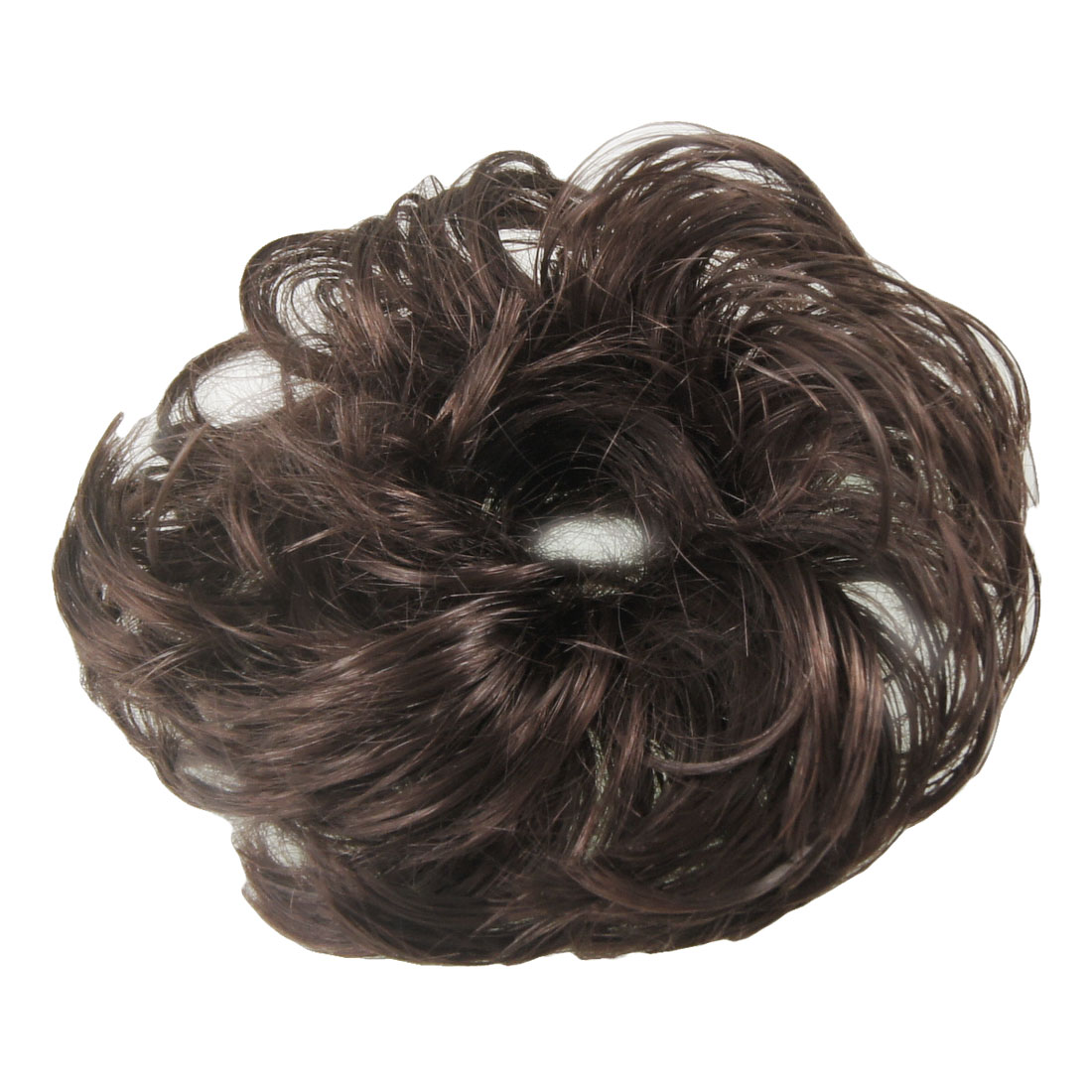 "5.5"" Dia Girl DIY Party Hair Wig Wave Hairpiece Bun Medium Dark Brown"