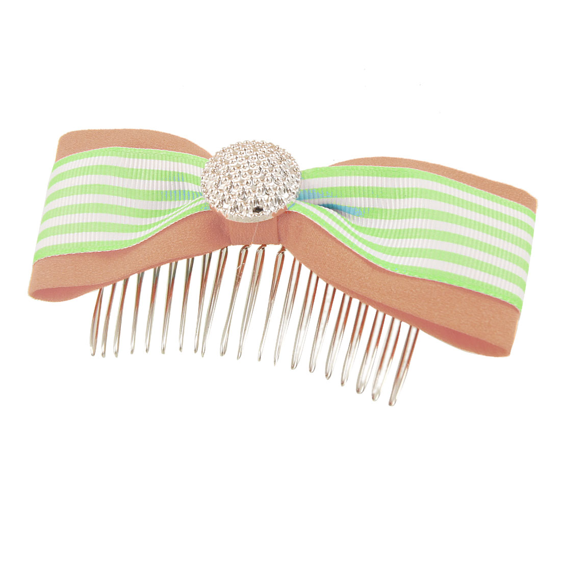 Lady Pale Green White Striped Patten Light Pink Polyester Bowknot Hair Comb Clip