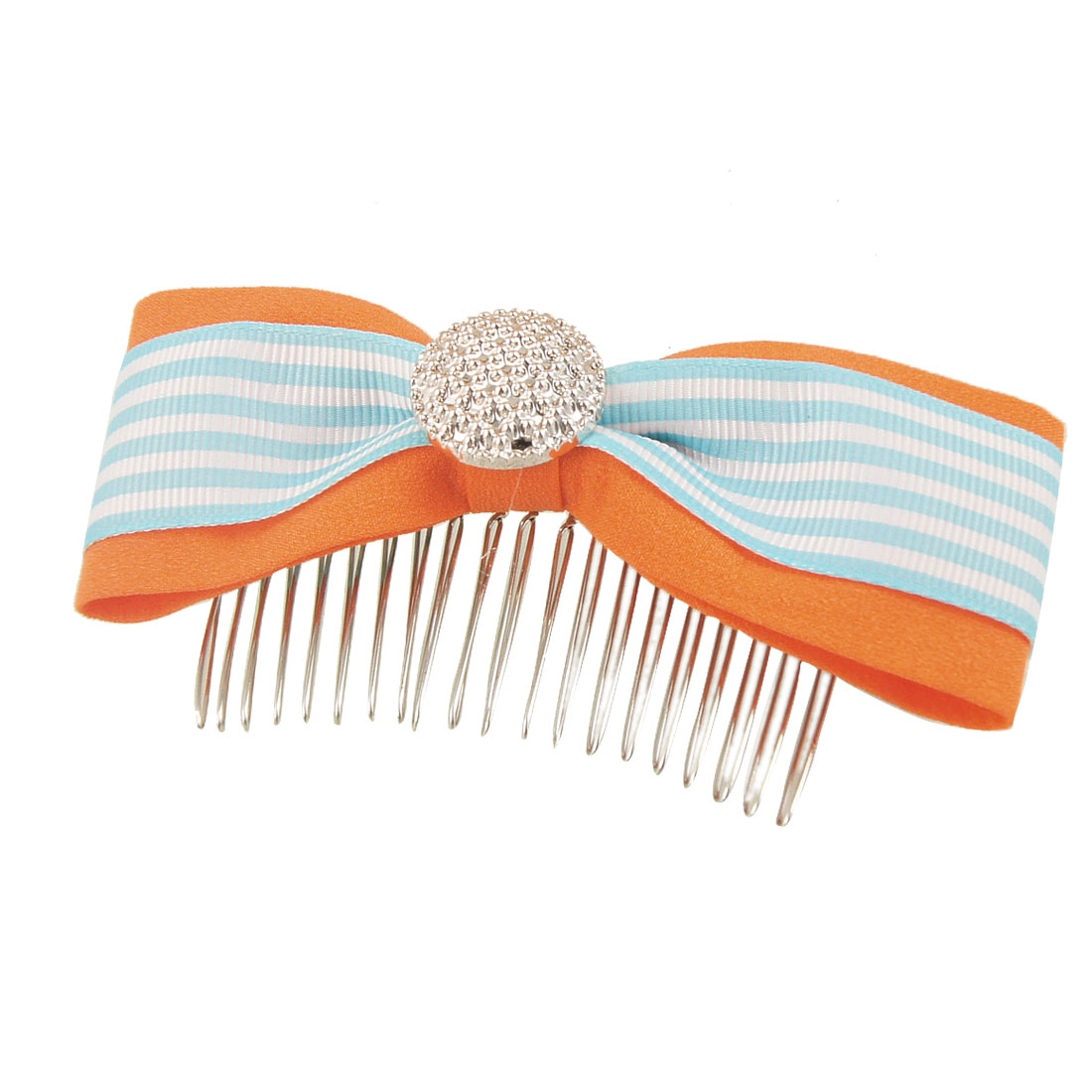 Pale Blue White Striped Patten Orange Polyester Bowknot Hair Comb Clip Clamp