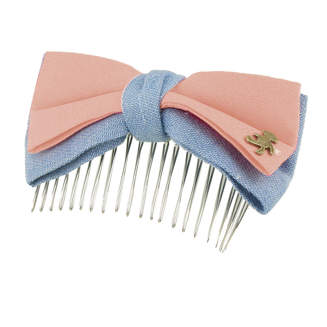 Woman Metal Bear Detail Light Pink Double Layer Bowknot Hair Comb Clip Clamp