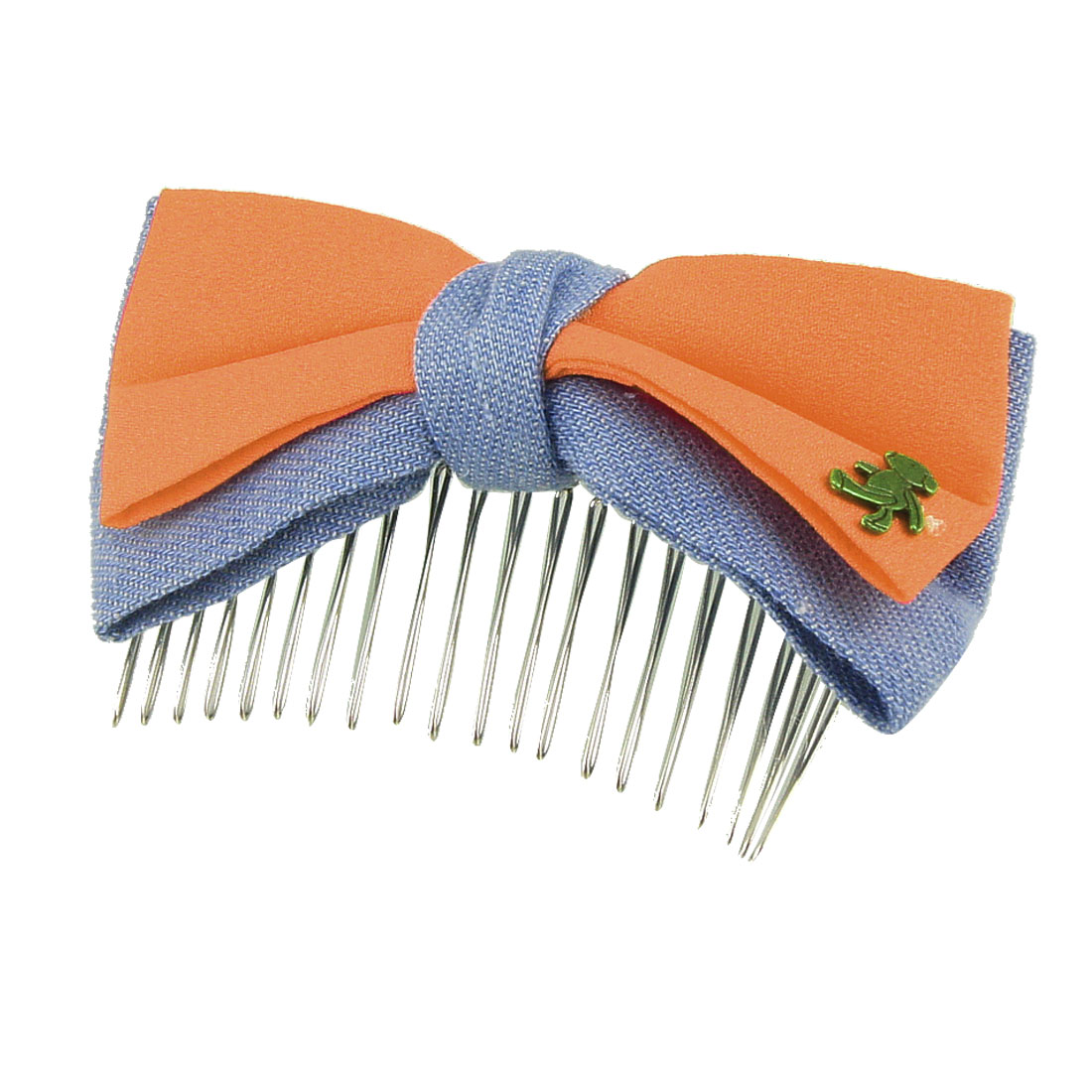 Metal Bear Detail Orange Pale Blue Double Layer Bowknot Hair Comb Clip Clamp