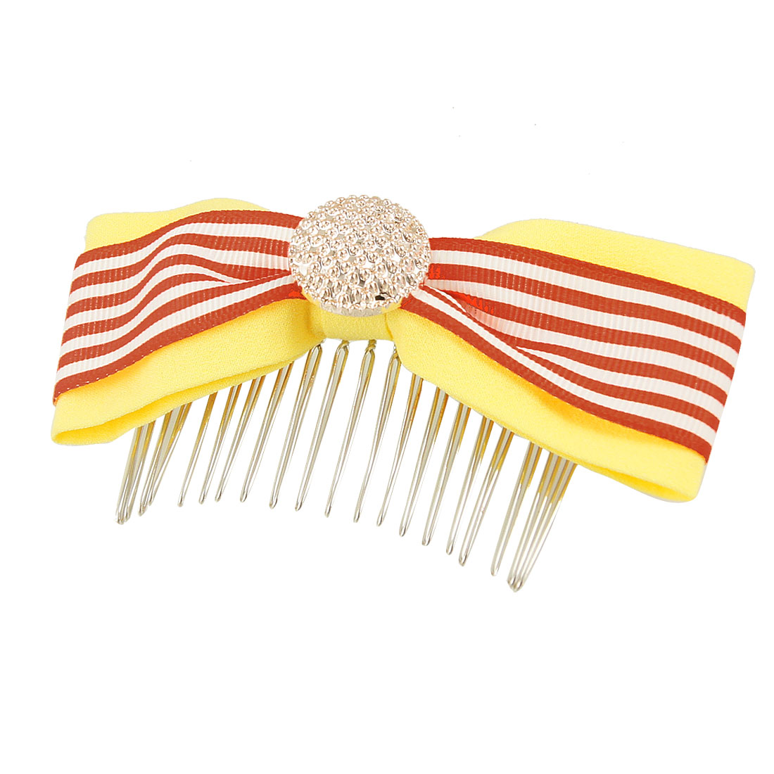 Lady Red White Striped Patten Yellow Polyester Bowknot Hair Comb Clip Clamp