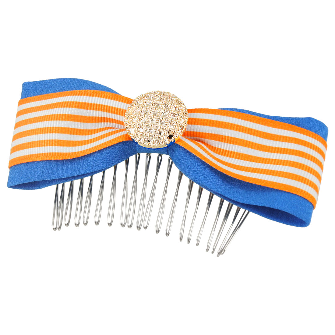 Woman Orange White Striped Pattern Blue Polyester Bowknot Hair Comb Clip Clamp