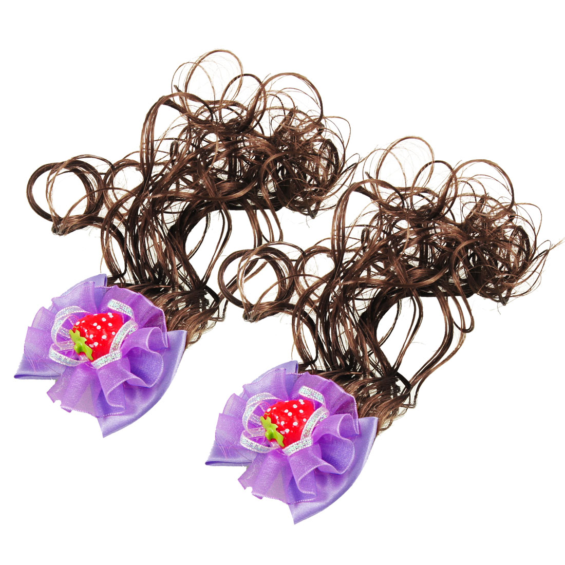 Headdress Bowtie Accent Alligator Clip Wig Fall Hairpieces Purple 2 Pcs for Girl