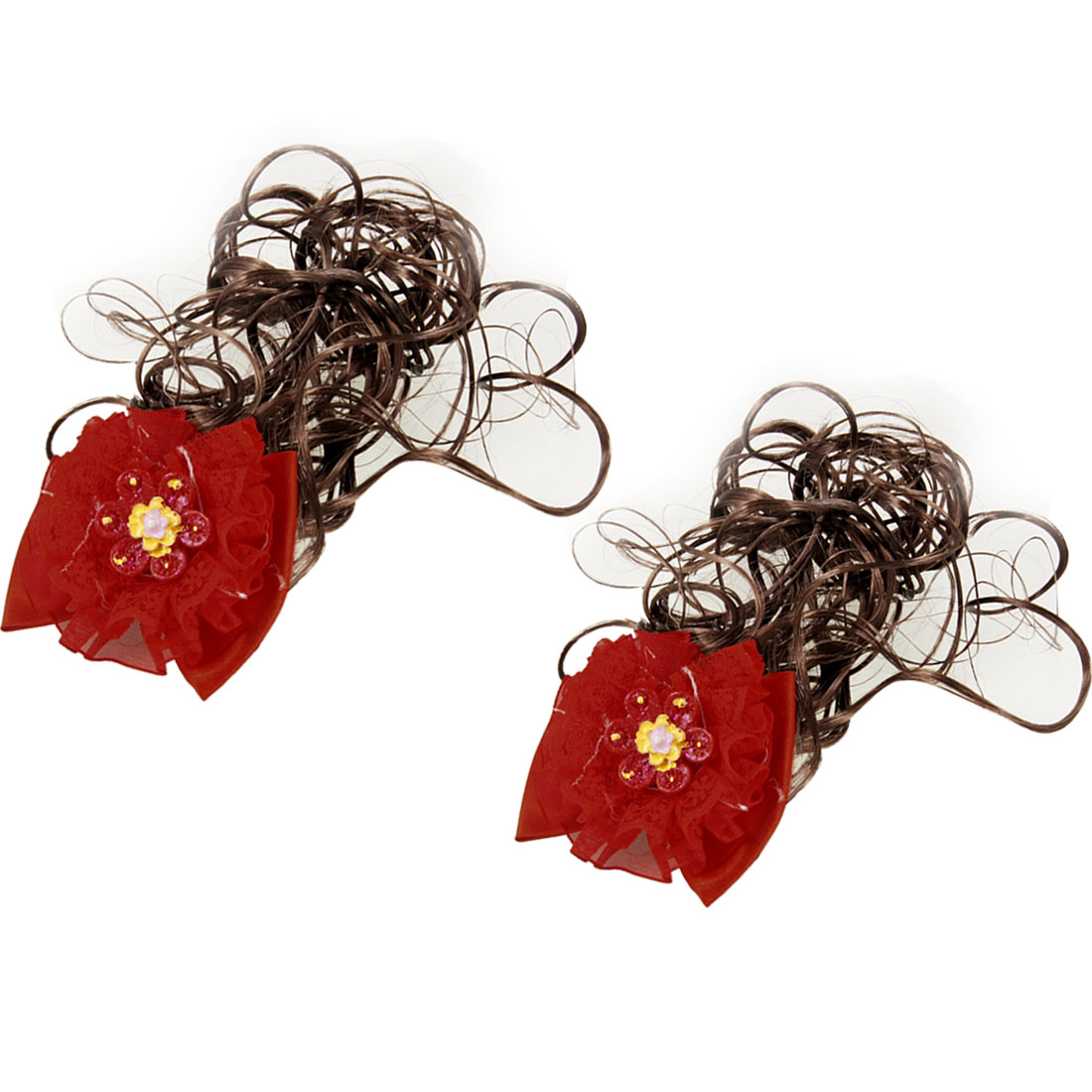 Pair Red Flowers Bowtie Accent Alligator Clip Wig Fall Hairpieces for Girl