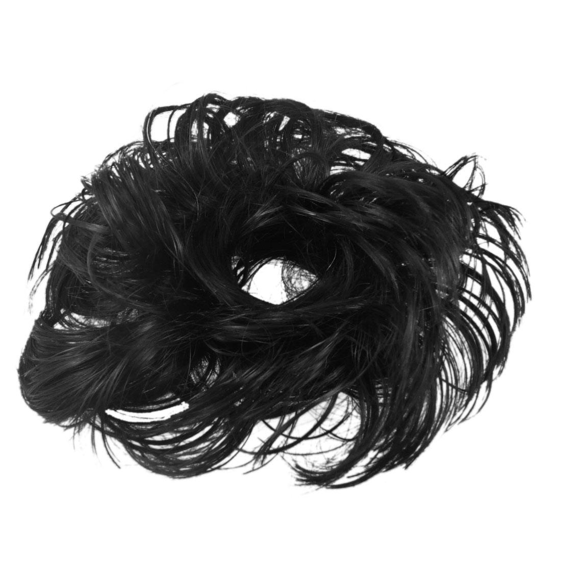 "5.5"" Dia Black DIY Party Faux Hair Wig Wave Hairpiece Bun for Girl Woman"