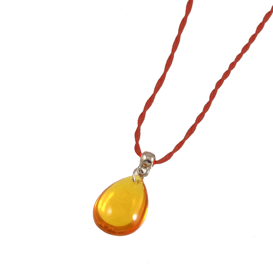 Plastic Amber Teardrop Crystal Pendant Knotted Closure Necklace