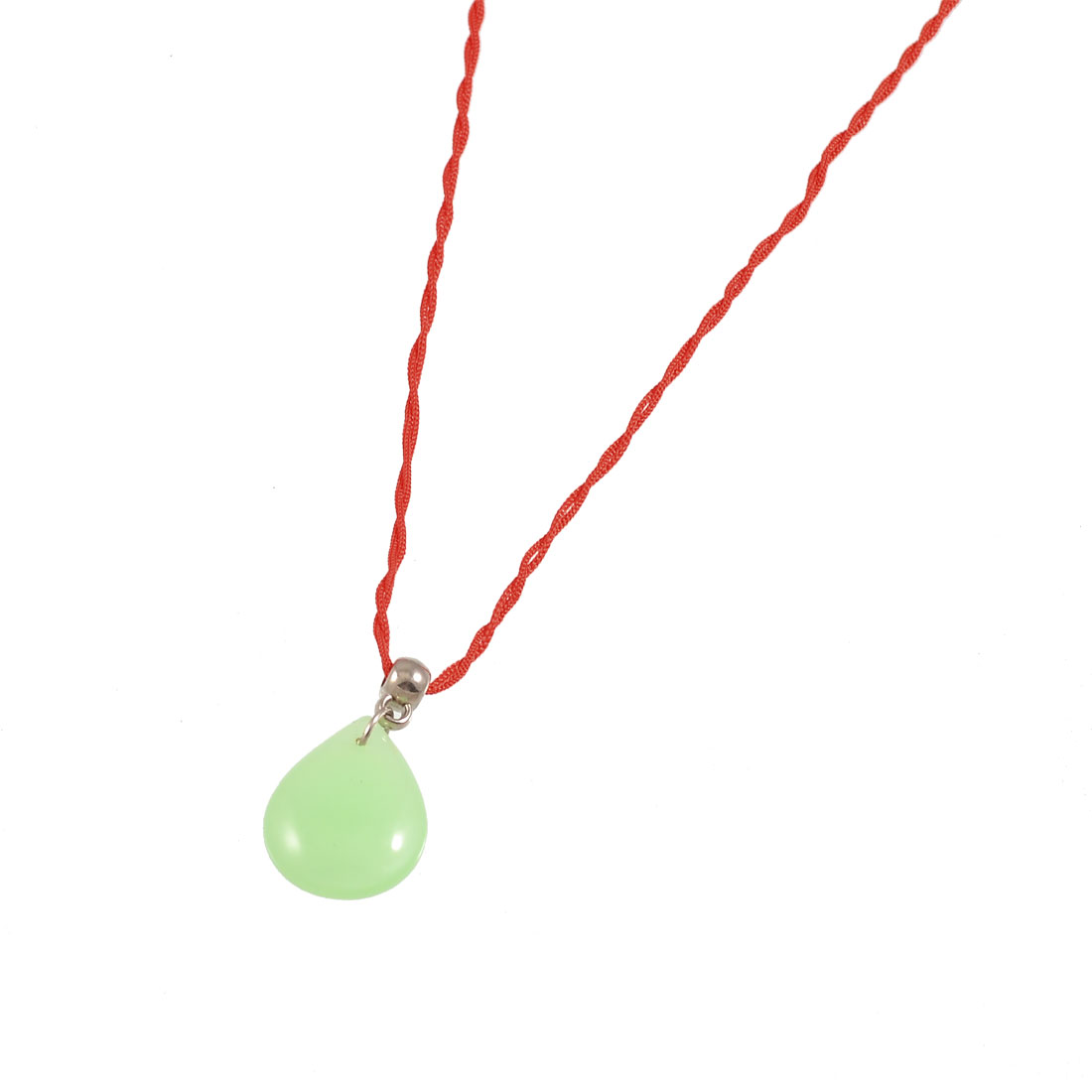 Woman Red Braided Rope Green Raindrop Crystal Pendant Necklace