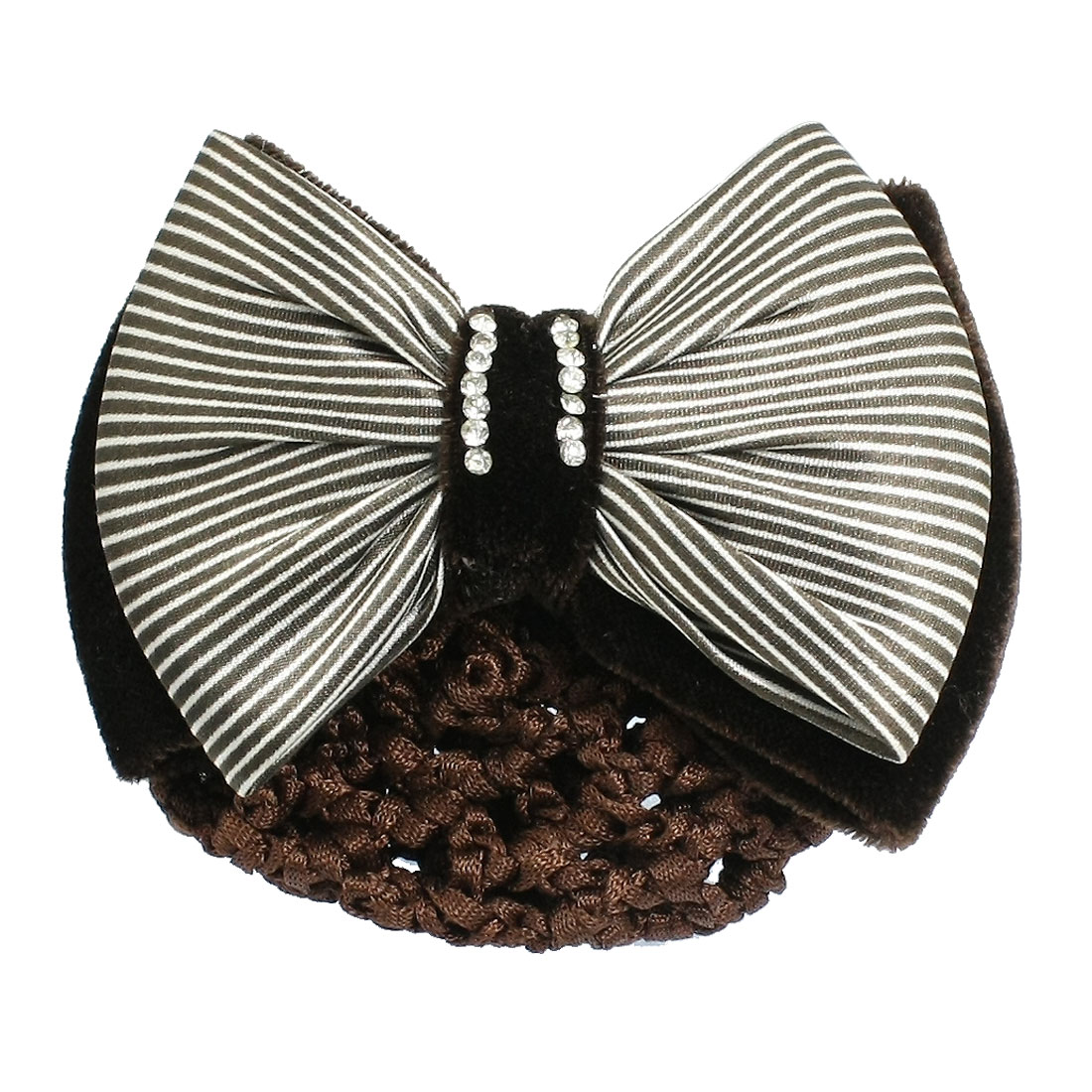 Women Rhinestone Decor Brown White Striped Bow French Clip Snood Hair Net