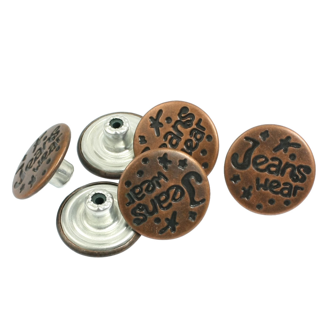 6 Pieces Metal Carved Jeans Repair Parts Tack Buttons