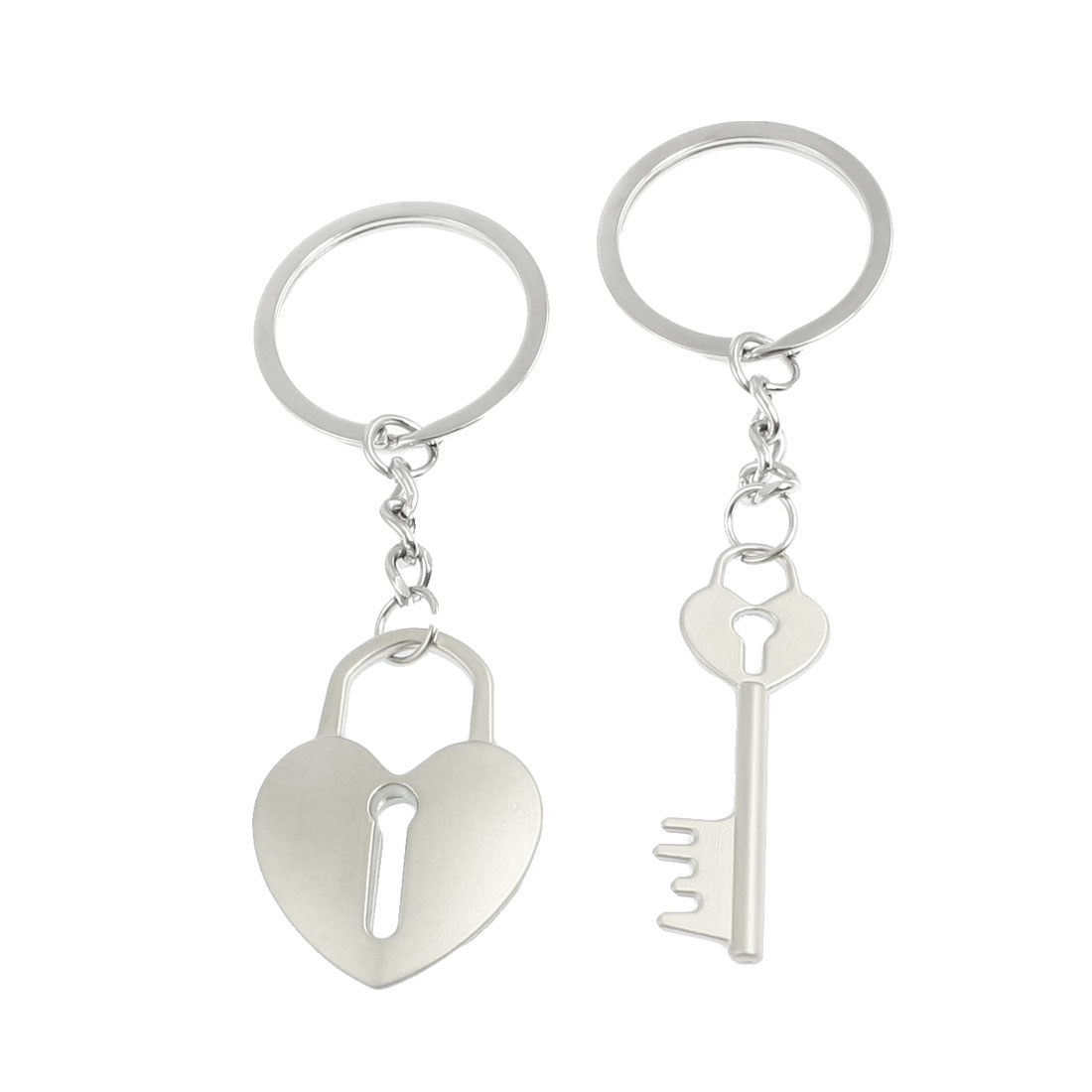 Lovers Heart Shape Key Pendants Keyring Keychain Pair Silver Tone