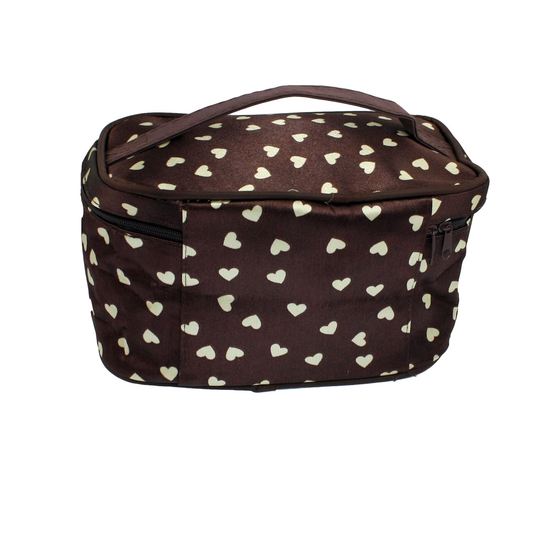 Beige Heart Pattern Dual Zipper Closure Makeup Cosmetic Hand Bag Brown
