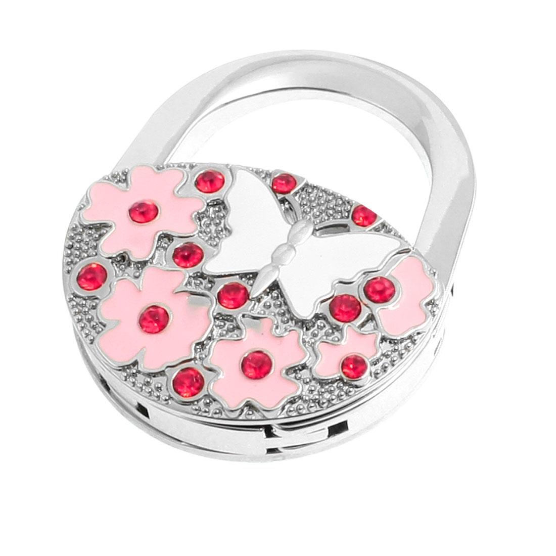 Pink Flowers White Butterfly Pattern Padlock Foldable Handbag Hook Hanger
