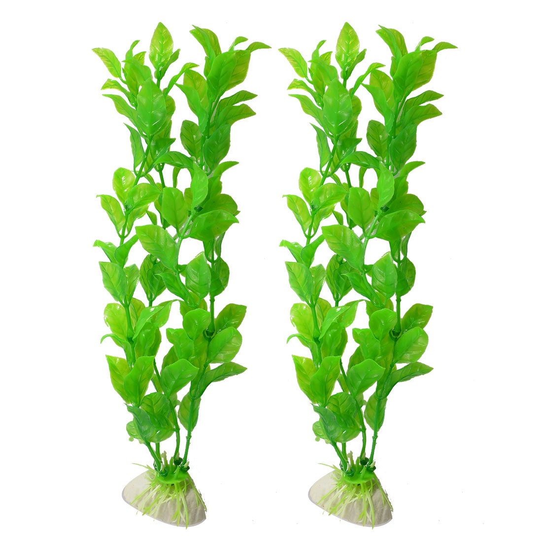 "10"" Length Green Plastic Artificial Plant Fish Tank Aquarium Ornament 2 Pcs"