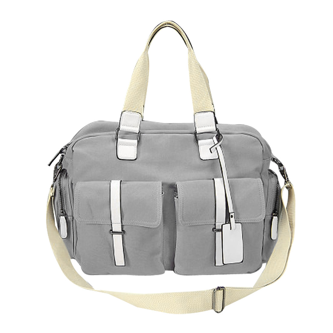 Men Light Gray Slide Buckle Adjustable Strap Zipper Shoulder Bag