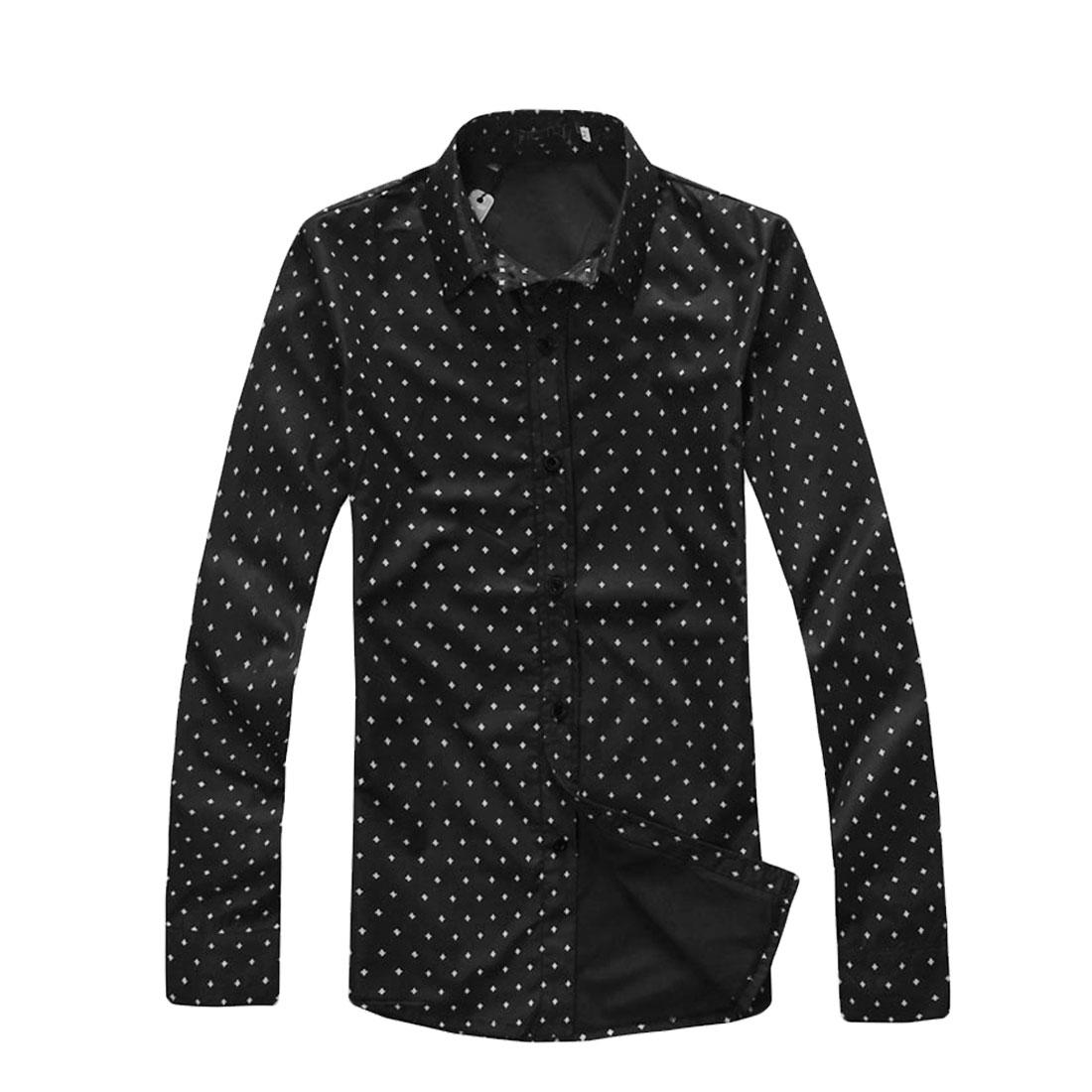 Men Black NEW Button Closure Long Sleeve Flowers Detail Round Hem Fall Shirt S