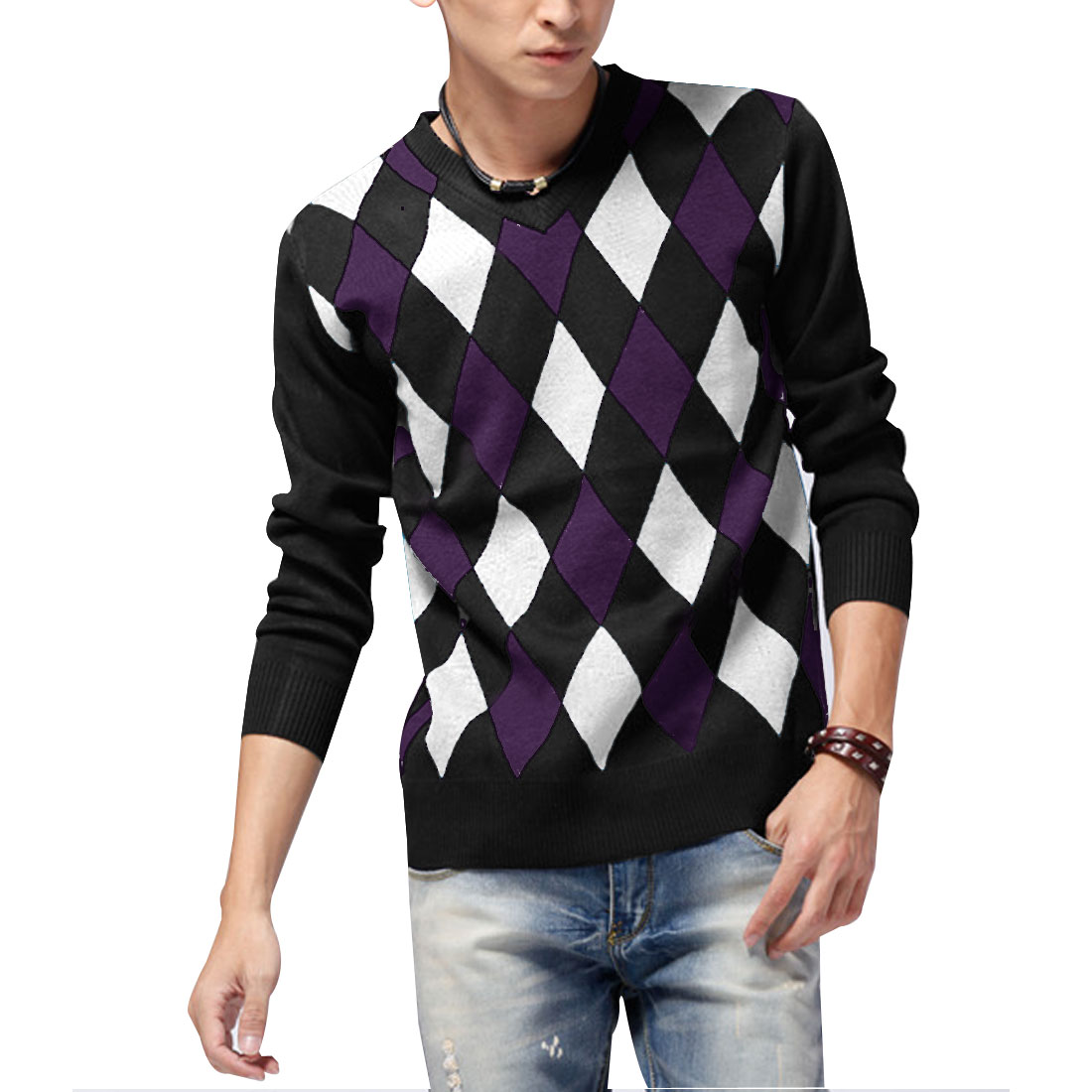 Men Black Purple White Long Sleeve Stretch Argyle Ribbing Hem Knit Shirt S