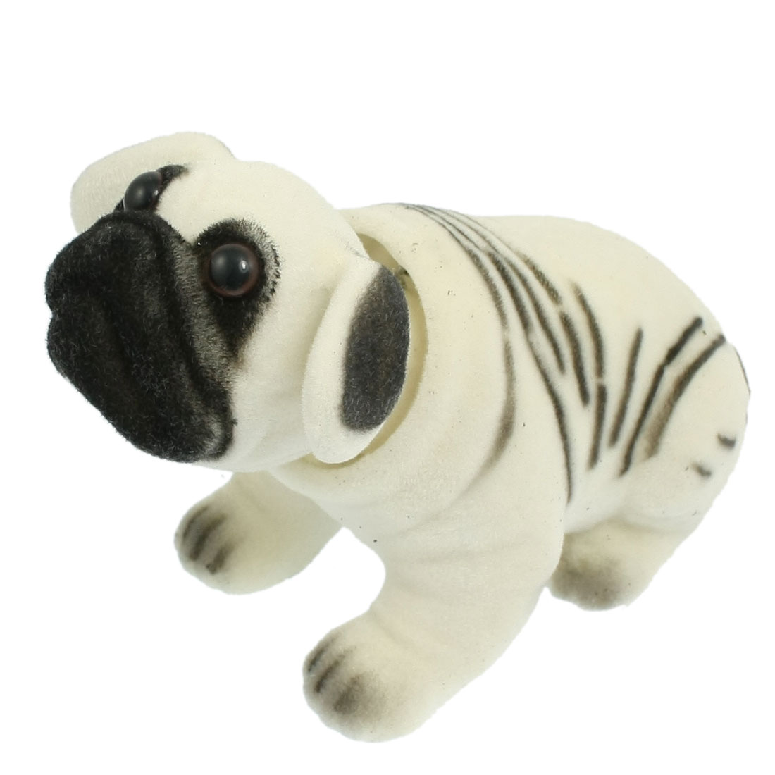 Black White Plush Ceramic Pug Nodding Dog for Car Auto