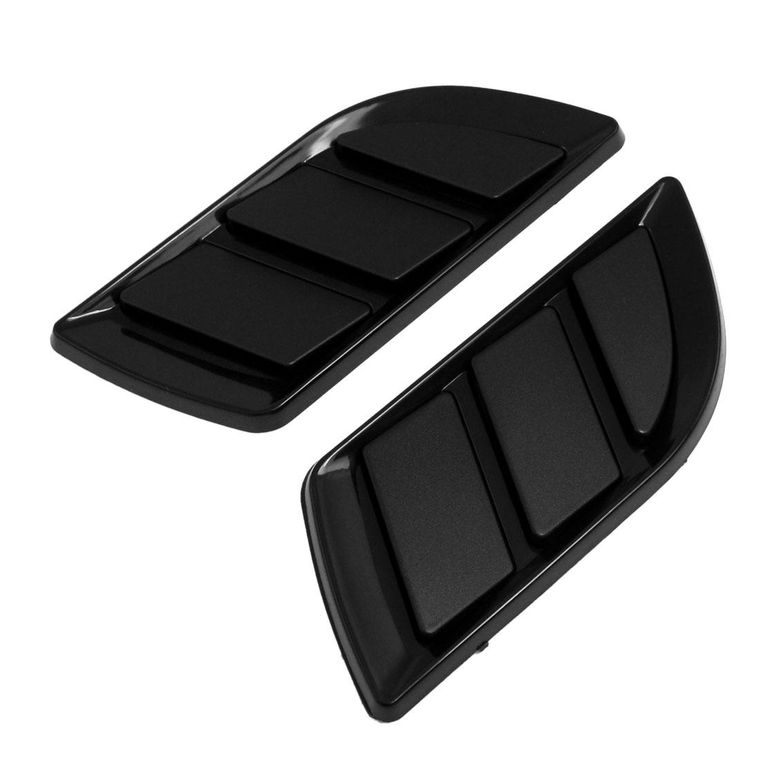 2 Pcs Black Plastic Rhombic Car Auto Air Flow Fender Sticker