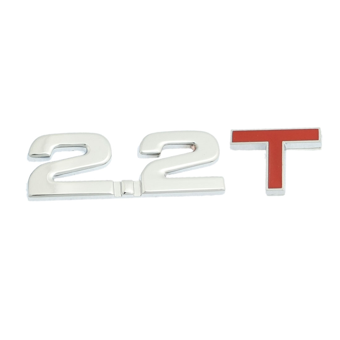 Silver Tone Red Alloy 2.2T Displacement Badge Sticker for Car