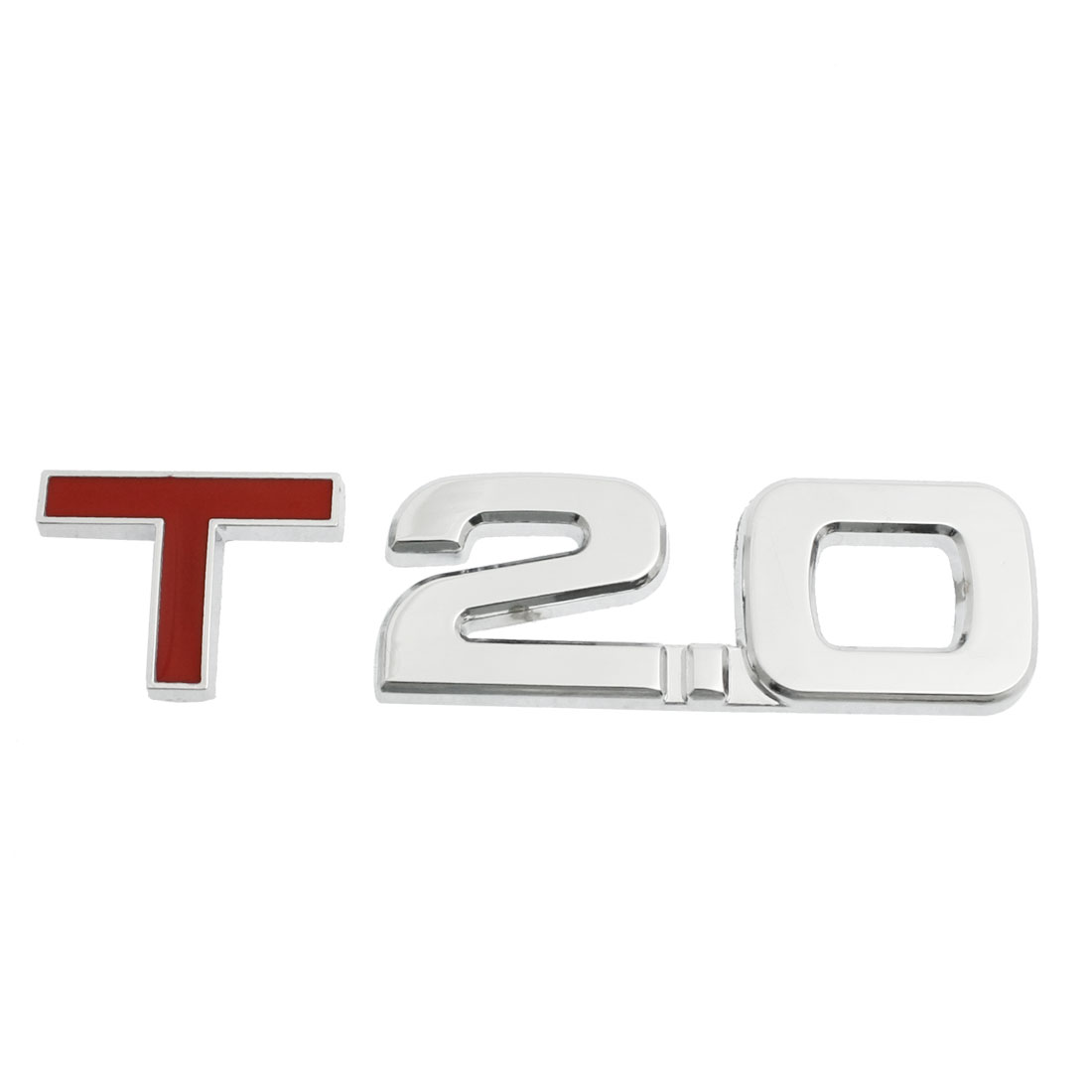 Silver Tone Red Alloy 2.0T Displacement Badge Sticker for Car