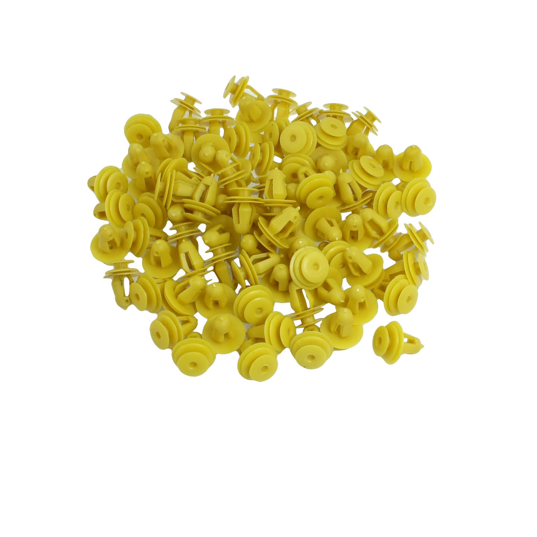 100 Pcs Car Door Trim Fender 10mm Hole Plastic Rivets Fastener Yellow