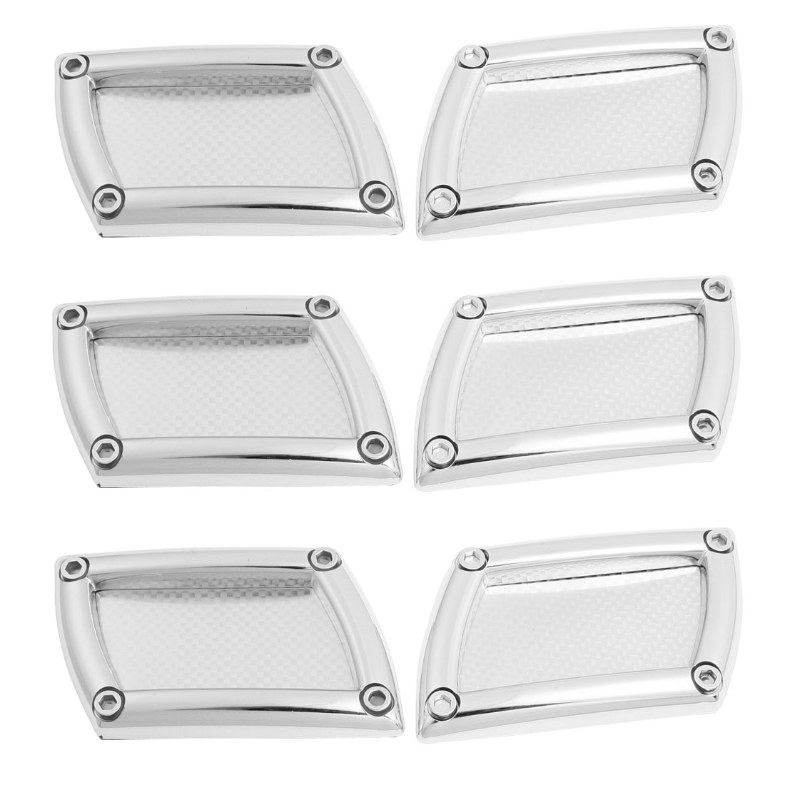6 Pcs Silver Tone Plastic Rhombic Car Air Flow Fender Stickers