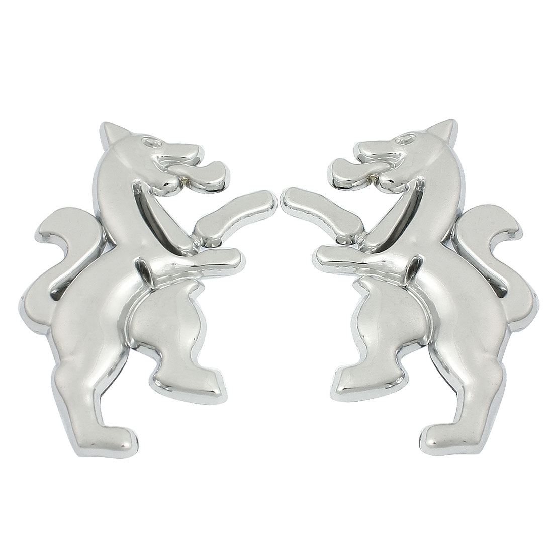 Car Exterior Decorative Silver Tone Horse Style Badge Sticker Pair
