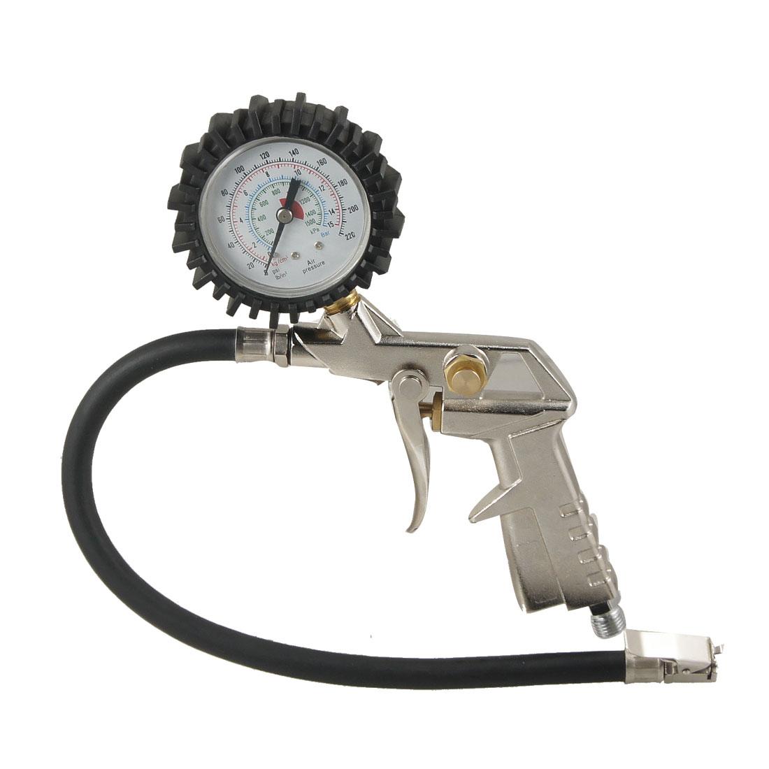 Auto Bike Motorcycle Tire Metal Grip Inflator w Air Pressure Gauge