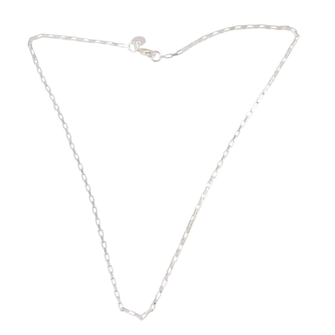 Women Ladies Silver Tone Metal Chain Necklace Jewelry