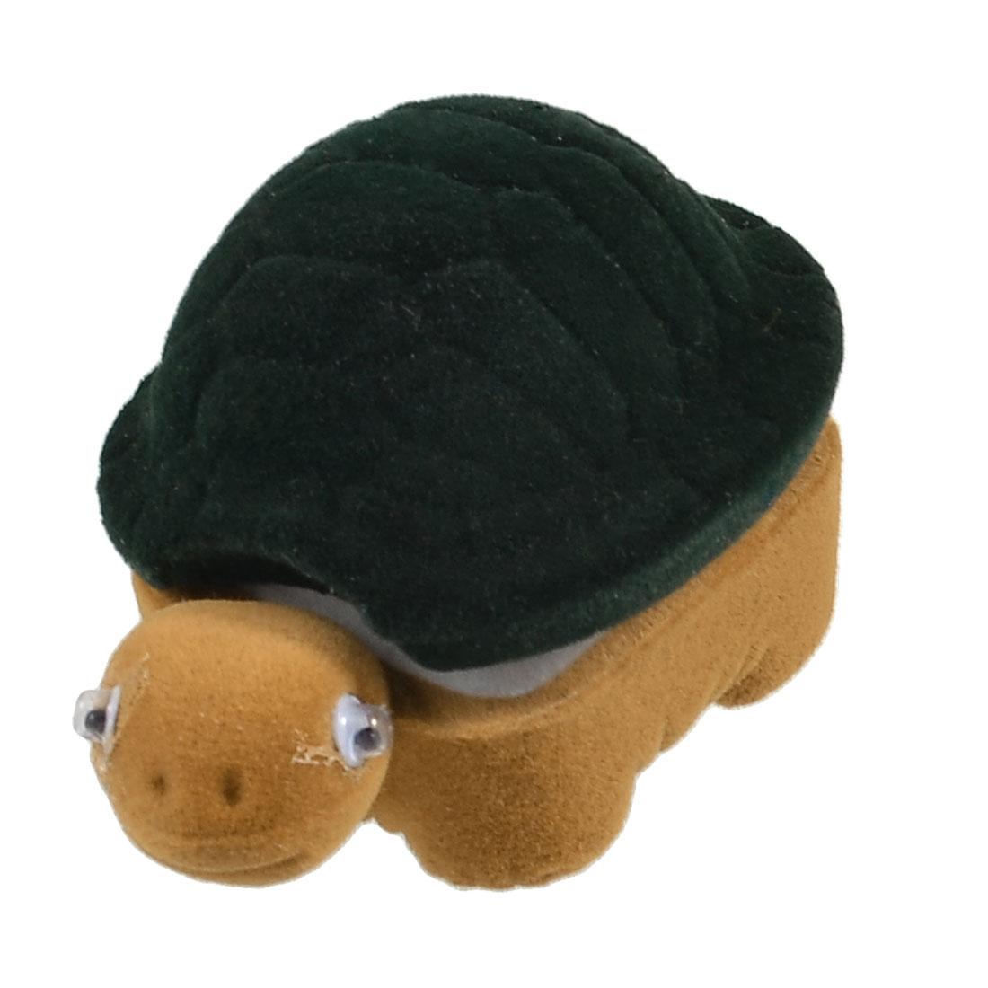Green Brown Flannel Tortoise Shape White Inner Ring Case Boxes Holder