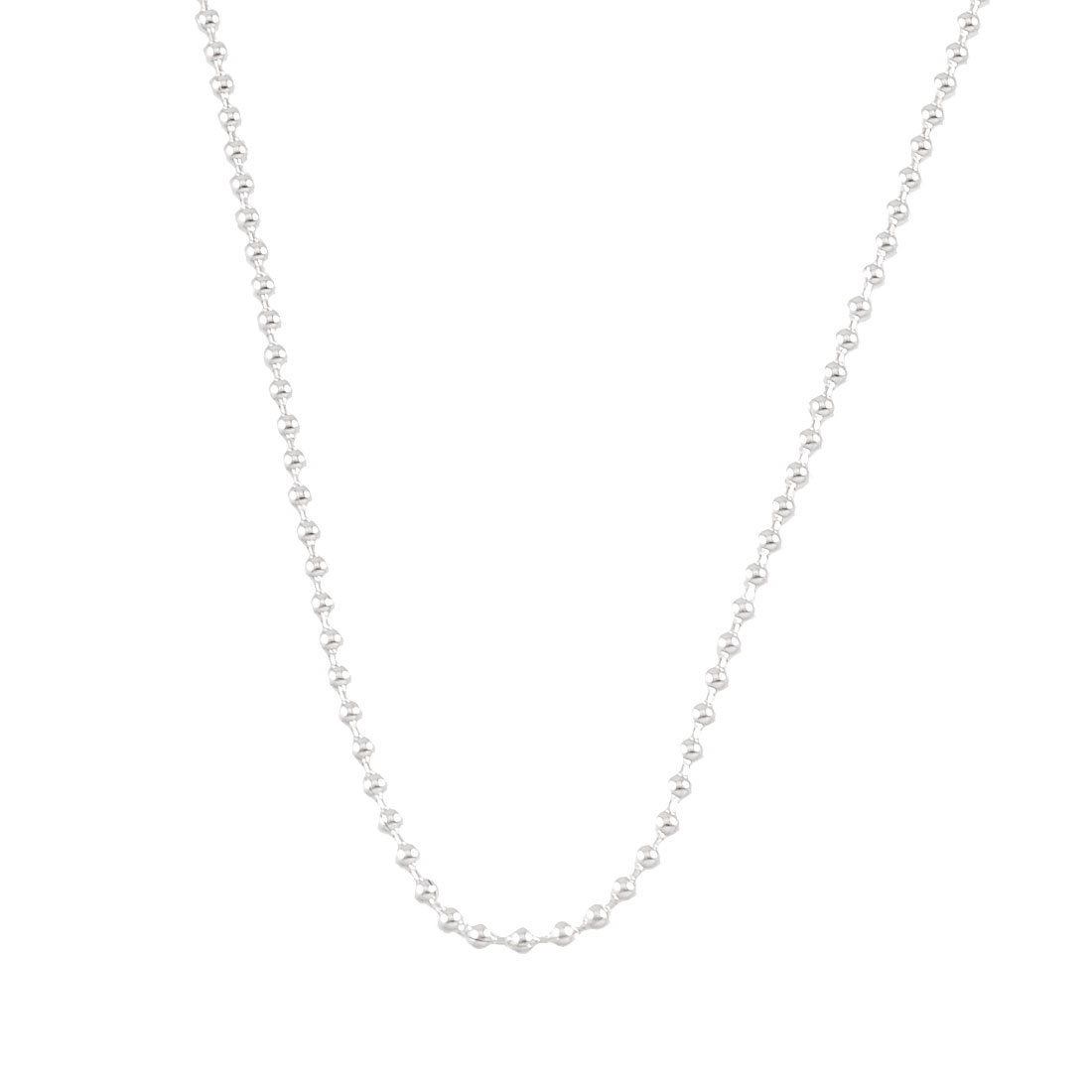 "Women Ladies Silver Tone 24"" Girth Metal Bead Chain Necklace"